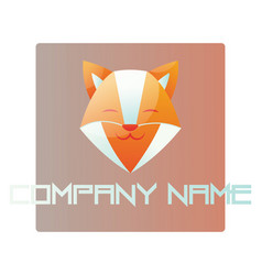 happy fox head inside a light red square logo on vector image