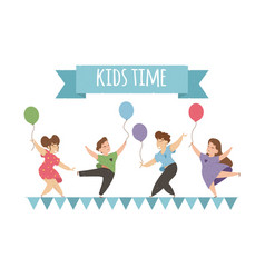 Happy kids dancing and jumping with balloons vector