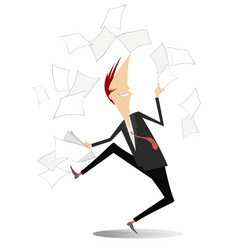 happy man tossing papers excited about something vector image