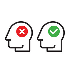 Human head with check and cancel button vector