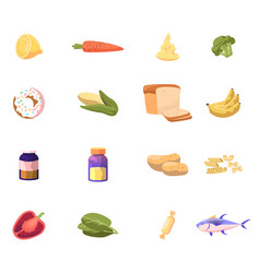 Icons set lemon carrot and cheese broccoli vector
