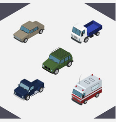isometric car set of armored auto lorry and vector image