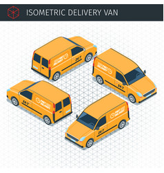isometric delivery van vector image