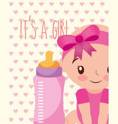 its a girl baby and feeding bottle card vector image