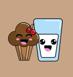 Kawaii cherry cup cake and milk icon with vector