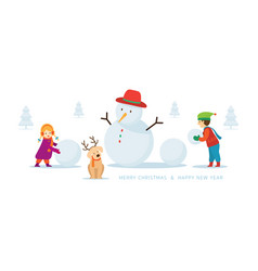 Kids or children with dog build a snowman vector