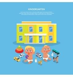 Kindergarten Design Flat Banner vector