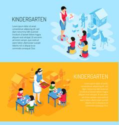 kindergarten isometric banners vector image