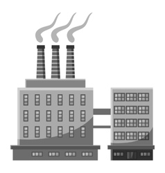 Large chemical plant icon gray monochrome style vector