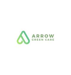 Letter a green colour arrow natural minimal logo vector