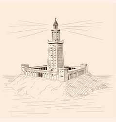 Lighthouse on stone shore vector