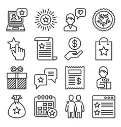 loyalty and customer feedback icons set line vector image