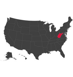 Map of usa - west virginia vector