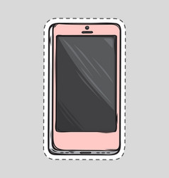 Mobile phone patch cut out of paper dashed line vector