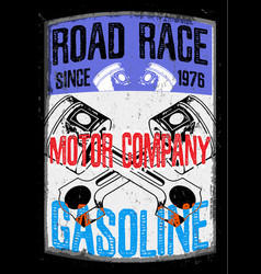 Motorcycle gasoline labet tee graphic design vector