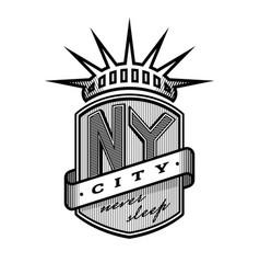 new york city emblem vintage style vector image