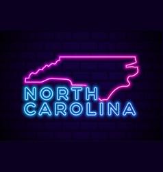 north carolina us state glowing neon lamp sign vector image