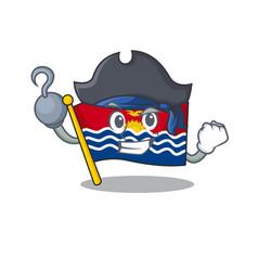 One hand pirate flag kiribati scroll cartoon style vector