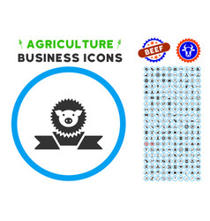 Pig reward ribbon rounded icon with set vector