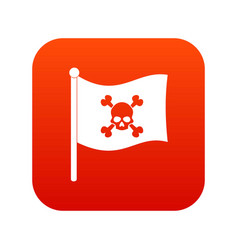 pirate flag icon digital red vector image