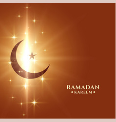 Ramadan kareem background with moon and sparkles vector