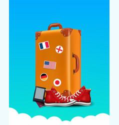 Realistic traveler luggae - vintage suitcase vector