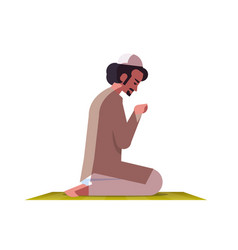 religious muslim man kneeling and praying on vector image