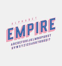 Retro 3d empire display font design alphabet vector