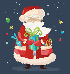 santa claus with a gift vector image