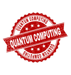 Scratched textured quantum computing stamp seal vector