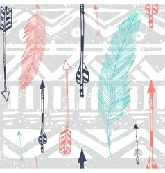 Seamless aztec tribal pattern with feather vector