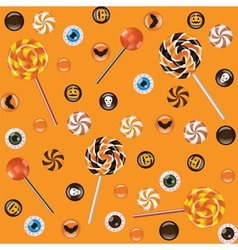 Seamless orange background with Halloween sweets vector