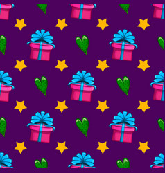 seamless pattern with gift box and heart vector image