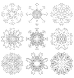 Set abstract floral patterns contours vector image