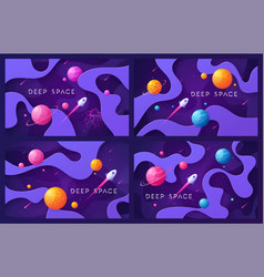 set colorful cartoon outer space backgrounds vector image