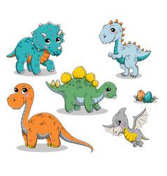 Set isolated funny cartoon dinosaurs vector
