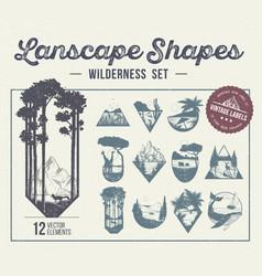 Set landscape shapes icons or labels vector