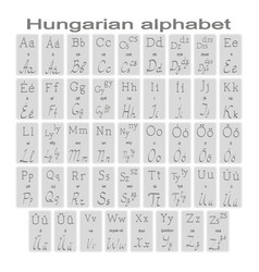 Set monochrome icons with hungarian alphabet vector