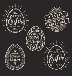 Set of eggs with easter greeting type design vector