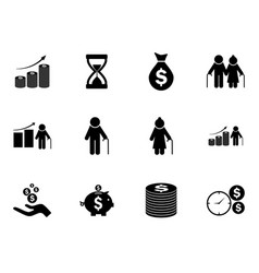 set of pension funds icons pictograms vector image