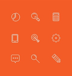 Set of Simple Line Art Business Icons Analytics vector