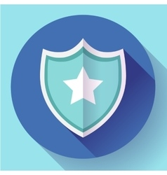 Shield icon with star - protection symbol Flat vector