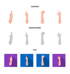 Sign language cartoonflatmonochrome icons in set vector