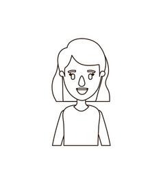 Sketch contour half body woman with short wavy vector
