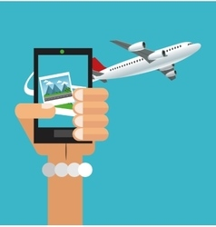 Smartphone and airplane design vector