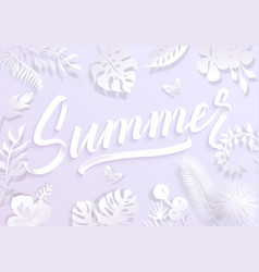 summer background with paper cut tropical palm vector image