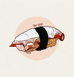 Sushi nigiri tako octopus hand draw sketch vector
