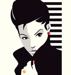 The fashionable woman with a cigarette vector