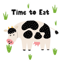 time to eat card with a funny cow vector image