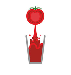 Tomato juice glass isolated nectar from tomatoes vector